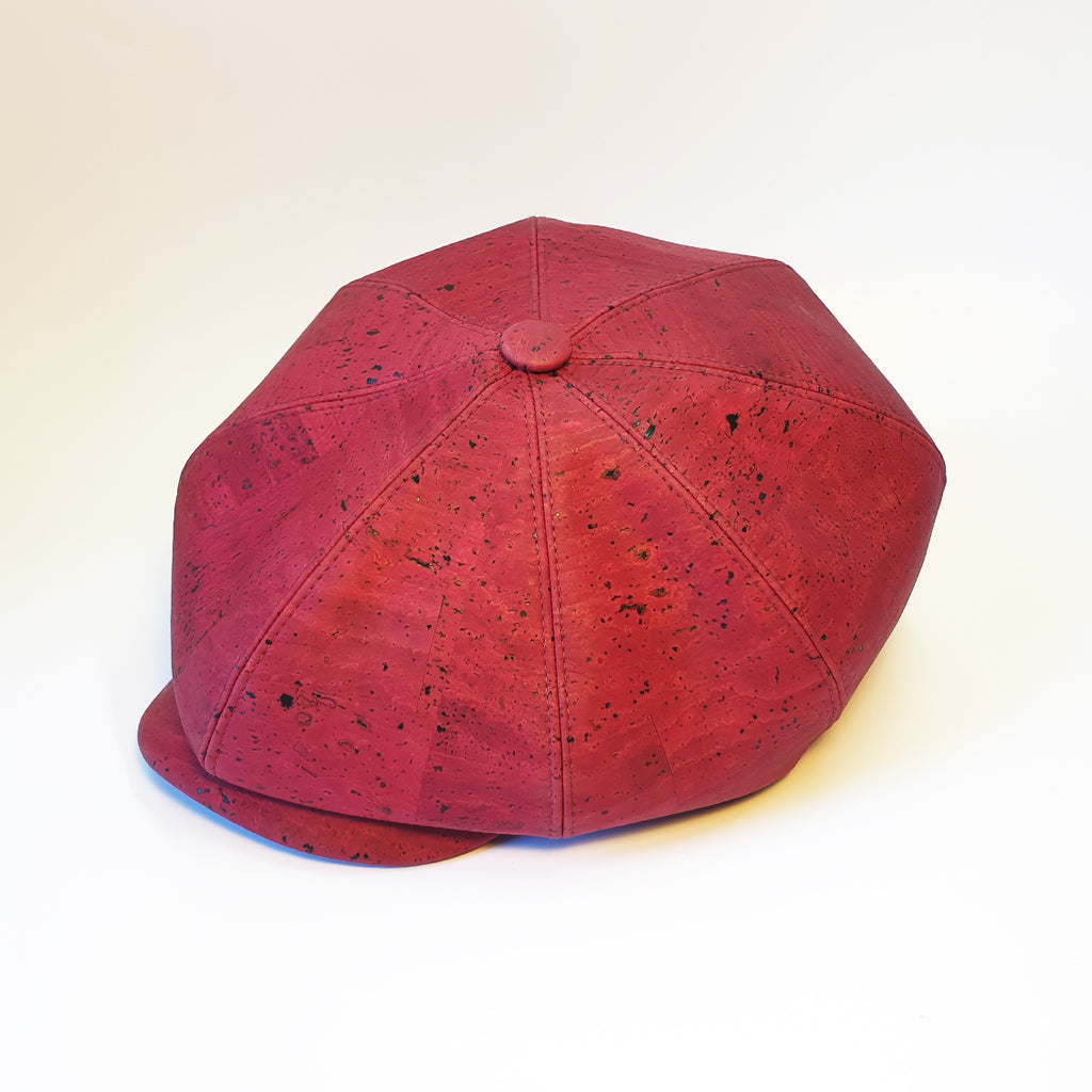 Fabrikk Cork Baker Boy Hat | Burgundy Love | Vegan Leather Hat