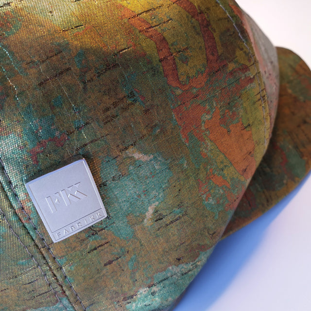 Fabrikk Cork Baker Boy Hat | Green Oil Slick | Vegan Leather