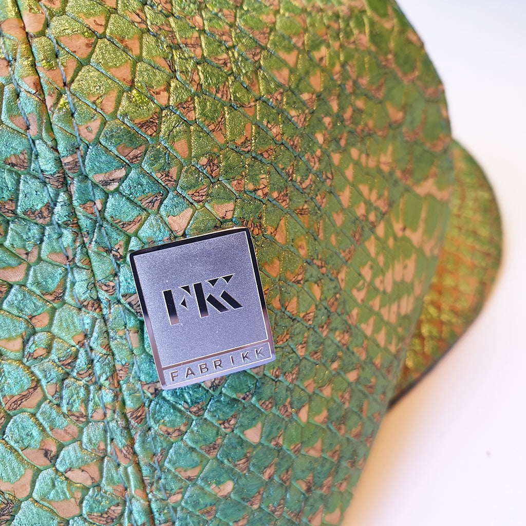 Fabrikk Cork Baker Boy Hat | Green Python Faux Snake Skin | Vegan Leather