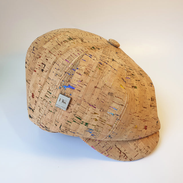 Fabrikk Cork Baker Boy Hat | Natural Metallic Fleck | Vegan 'Leather'
