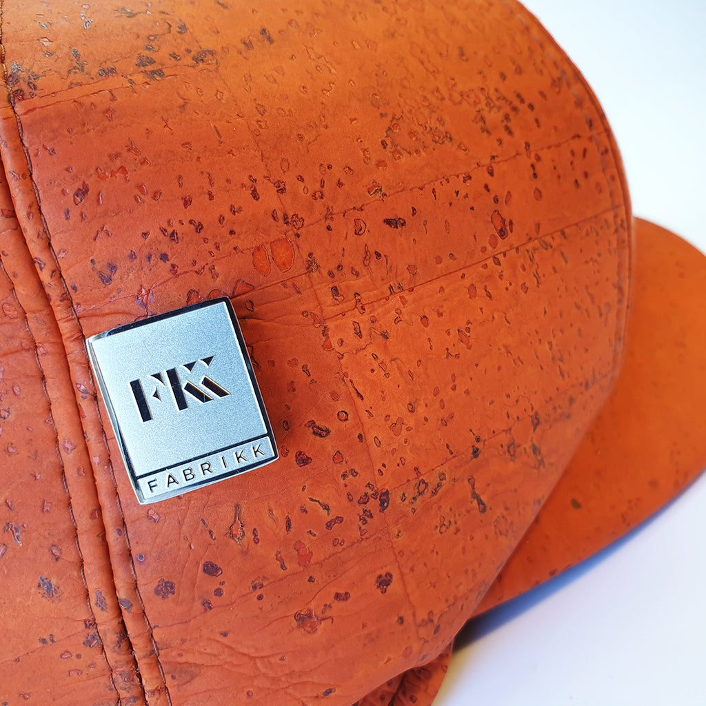 Fabrikk Cork Baker Boy Hat | Orange | Vegan Leather