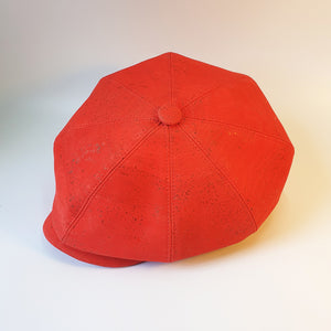 Fabrikk Cork Baker Boy Hat | Red | Vegan Leather