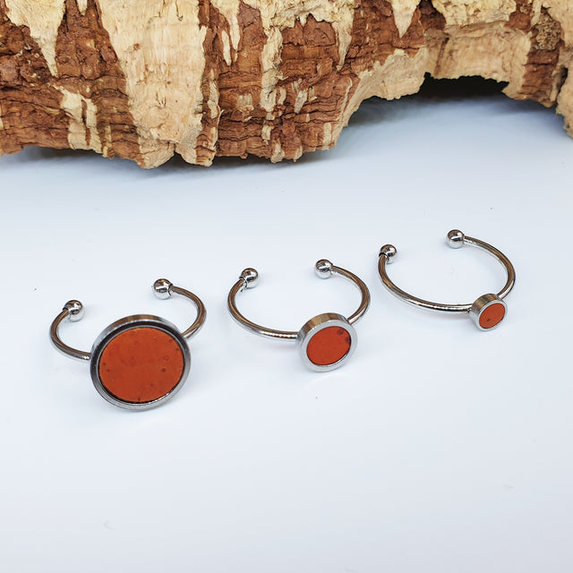 Fabrikk 1 Planet Stacking Ring Set | Small-Medium-Large | Orange | Vegan Leather