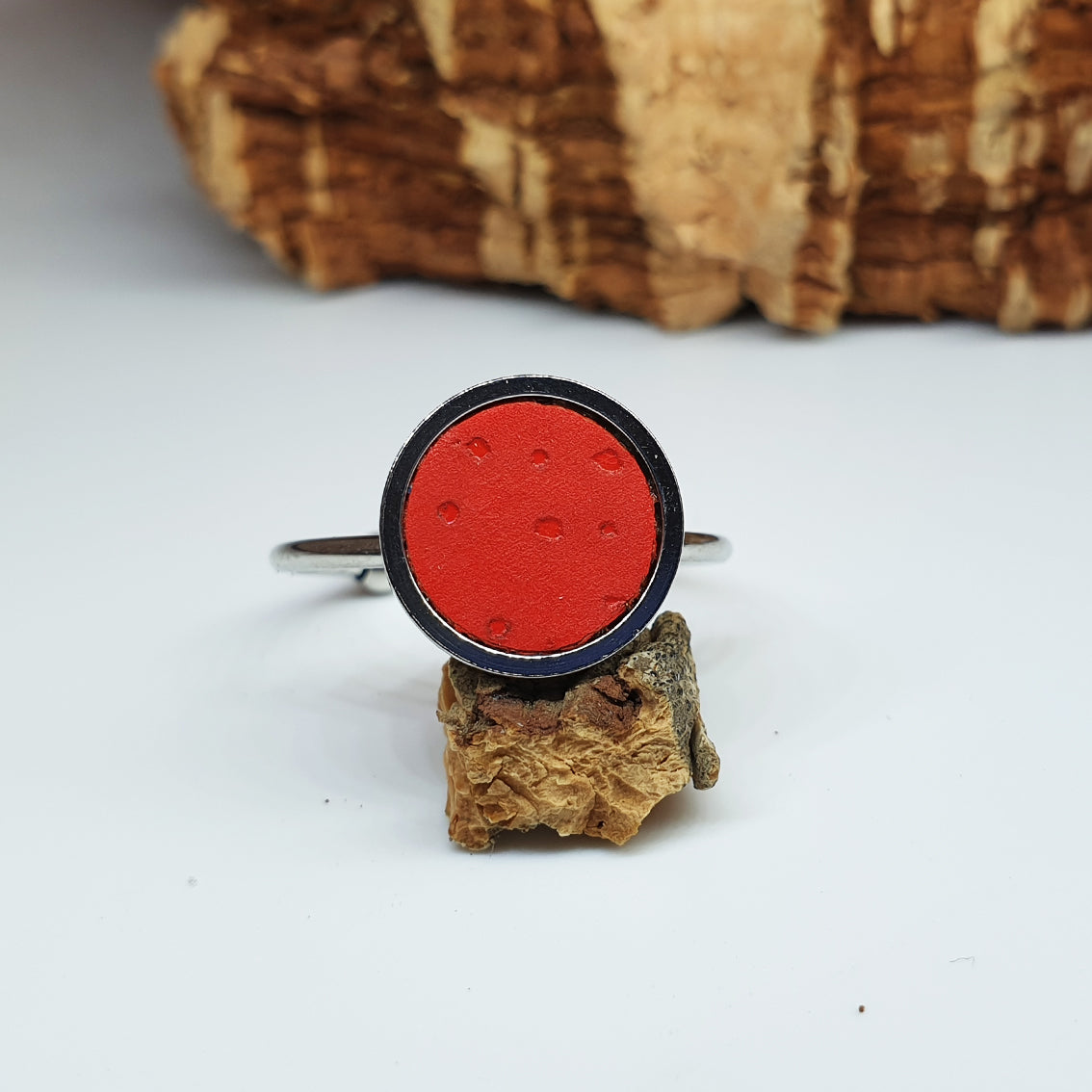 Fabrikk 1 Planet Stacking Ring | Large | Red | Vegan Leather