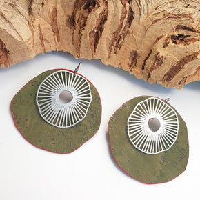 Fabrikk Split Atom | Laser Cut Earrings | Army Green | Vegan Leather