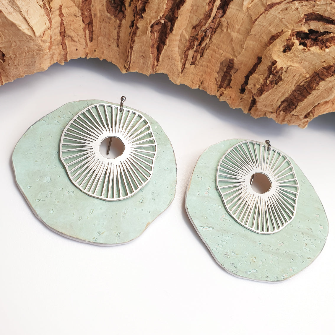 Fabrikk Split Atom | Laser Cut Jewellery Set | Mint Green | Vegan Leather