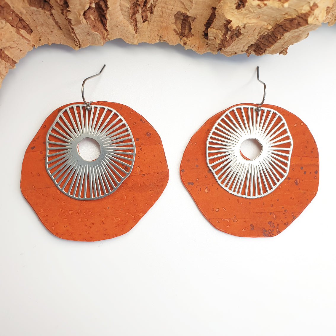 Fabrikk Split Atom | Laser Cut Earrings | orange | Vegan Leather