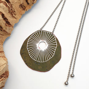 Fabrikk Split Atom | Laser Cut Necklace | Army Green | Vegan Leather