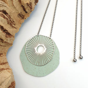 Fabrikk Split Atom | Laser Cut Necklace | Mint Green | Vegan Leather