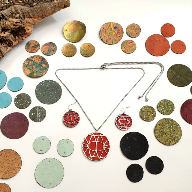 Fabrikk Torus Interchangeable Set | Earrings & Pendant + 14 Cork Colours | Vegan Leather