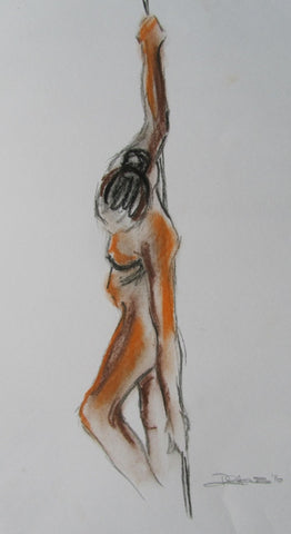 Ashley female nude standing pastel drawing by Beckie Howson