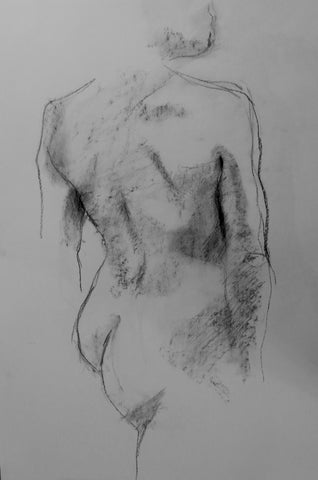 Back - female nude  charcoal drawing by Harriet Brittaine. Original and limited edition prints for sale.