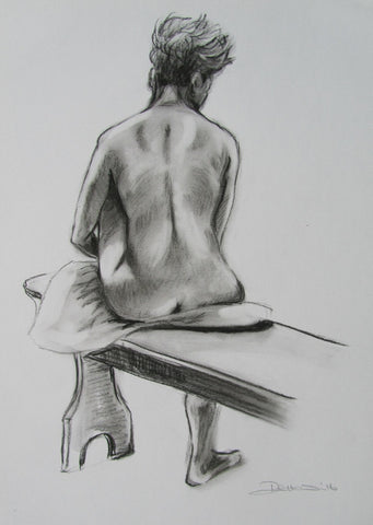 Becky female nude seated on bench