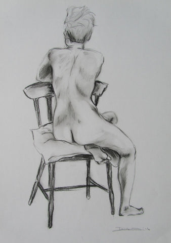 Becky female nude seated on chair charcoal drawing by Beckie Howson