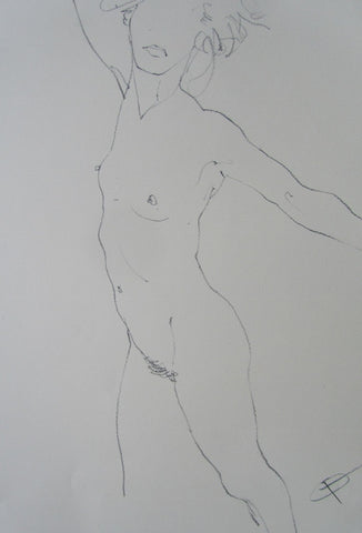 "'Confront"" female nude pencil drawing by George Boyter"