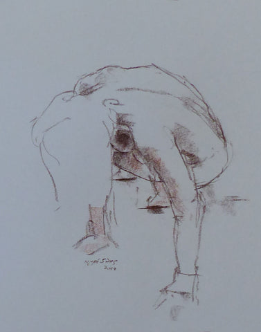 Crouching - female nude - conte crayon drawing by Nigel Sims