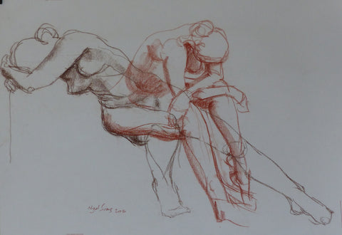 Dual nudes - female nudes - conte crayon drawing by Nigel Sims