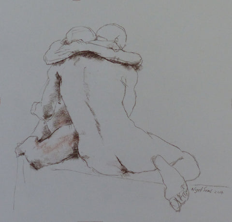 Embrace - female nude and male nude - conte crayon drawing by Nigel Sims