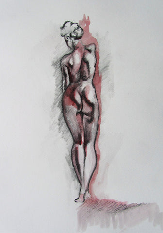 Life Drawing 1 - female nude charcoal and wash by Molly Hitchcock