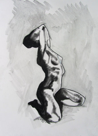 Life Drawing 2 - female nude by Molly Hitchcock - charcoal and wash