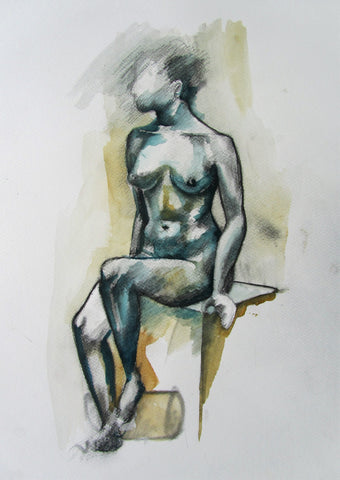 Life Drawing 3 - female nude by Molly Hitchcock - charcoal and wash