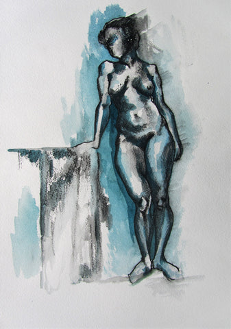 Life Drawing 4 - female nude by Molly Hitchcock - charcoal and wash