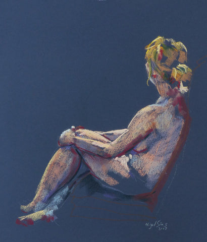 Leant - female nude, pastel  drawing by Nigel Sims