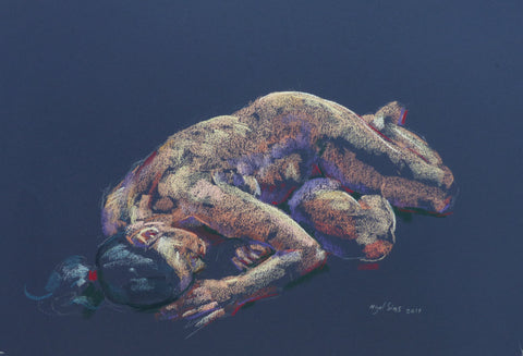 On Her Side - female nude - pastel drawing by Nigel Sims