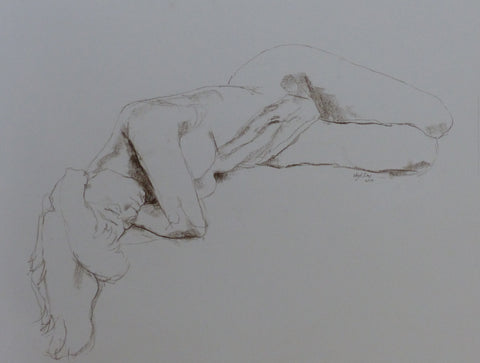 Pendant - female nude - conte crayon drawing by Nigel Sims