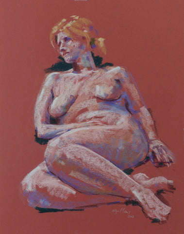 Reclining in Red - female nude - pastel drawing by Nigel Sims