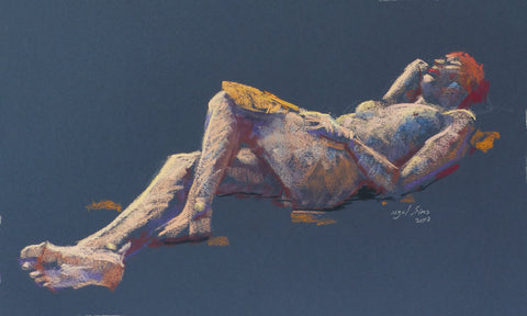 Red - female nude - pastel drawing by Nigel Sims
