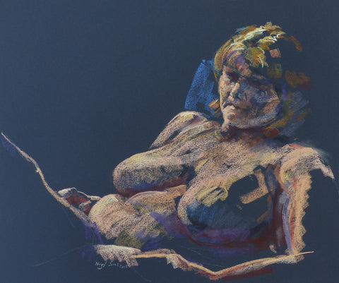 Resting - female nude - pastel drawing by Nigel Sims