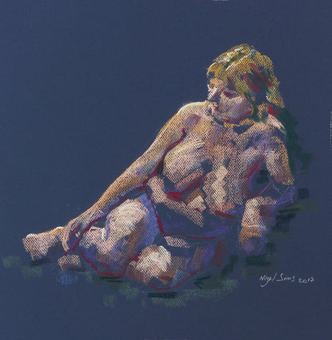 Seated in Blue - female nude - pastel drawing by Nigel Sims