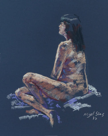 Seated - female nude - pastel drawing by Nigel Sims
