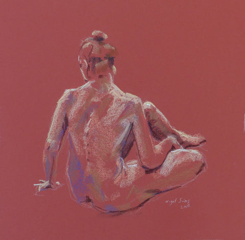 Spine - female nude - pastel drawing by Nigel Sims