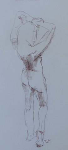 Stretched - female nude - conte crayon drawing by Nigel Sims