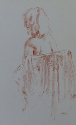 The Silk Robe - female nude - conte crayon drawing by Nigel Sims