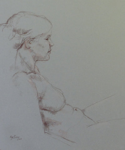 Waiting - female nude - conte crayon drawing by Nigel Sims