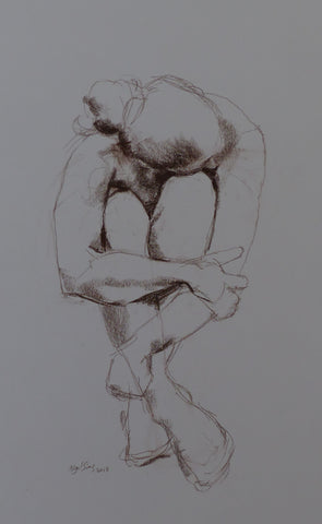Wrapped -  female nude - conte crayon drawing by Nigel Sims