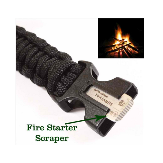 Paracord Rescue Rope Escape Bracelet,Outdoor Camping Survival Gear Buckle Travel Kit Equipment,Flint Fire Starter Whistle