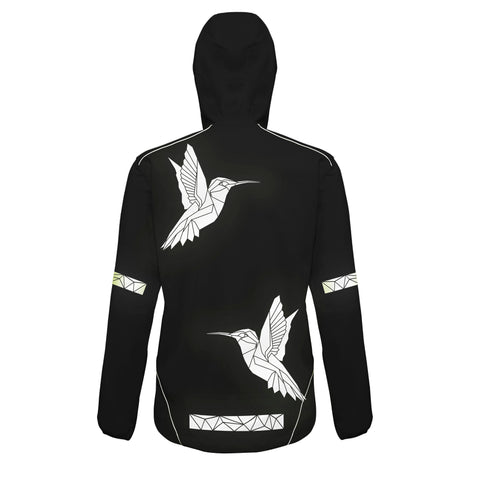 Reflective Cycling or running Jacket with hummingbirds by stencilize