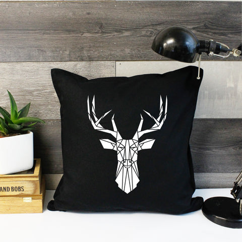 geometric stag cushion