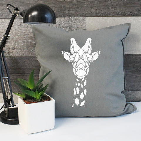 Geometric giraffe cushion