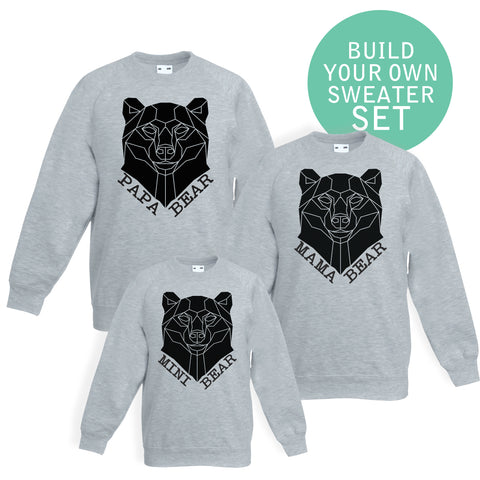 Stencilize Mama Papa and baby bear set of sweaters
