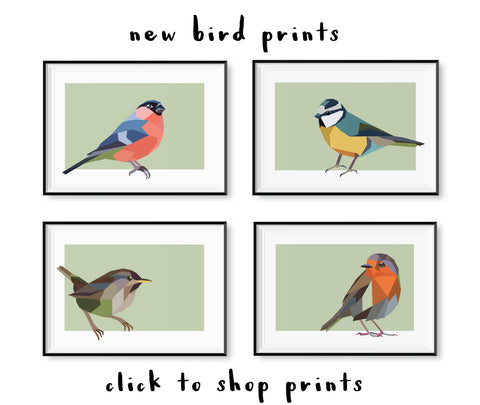 Irish Garden Bird art prints by Stencilize