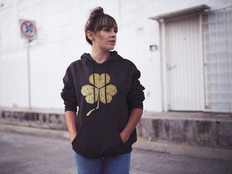 cool shamrock design hoodie black and gold by stencilize