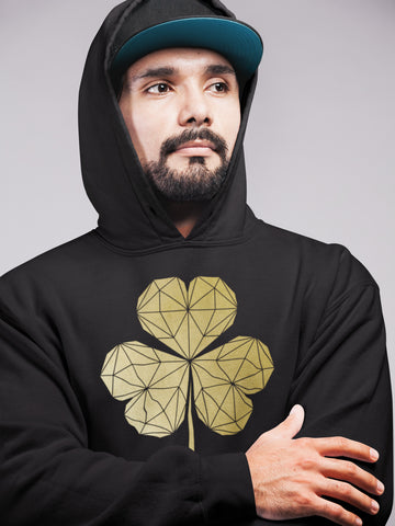 Geometric Contemporary Shamrock Hoodie black and gold