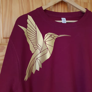 Sale XTRA LARGE Burgundy & Gold Hummingbird Sweater