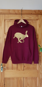 Sale SMALL Burgundy and Gold Hare Hoodie