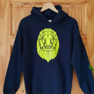 Sale SMALL Navy & Neon Yellow Lion Hoodie